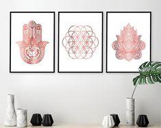 Set de 3 láminas para imprimir, para descargar, Hamsa, flor de la vida, impresión 3 Set, oro rosa, arte de la pared, arte Yoga, impresiones, carteles, arte, tendencias