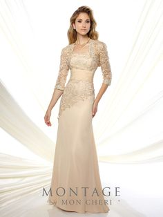 Montage by Mon Cheri - 116944 - Two-piece chiffon and Venise lace dress set, strapless slim A-line gown, lace bodice with asymmetrically dropped waist, ruched chiffon midriff, sweep train, matching three-quarter sleeve Venise lace bolero jacket, matching shawl and removable straps included.  Sizes: 4 - 20, 16W - 26W  Colors: Red, Gray, Champagne, Navy Blue