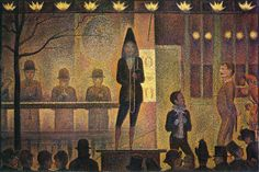 1887-1888: Georges Seurat: The Parade (Circus Sideshow) [Post-Impressionism; France] Seurat tackled a nocturnal scene in The Parade (also known as Circus Sideshow and La Parade de Cirque). The setting is a working class district of Paris in 1887. Fernand Corvi's traveling circus has come to town. In order to entice citizens to buy tickets, the circus put on a free sideshow of music and acts in the evening.