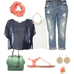 plus size summer look, created by kristie-payne on Polyvore