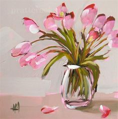 """""""pink tulips on the table"""" - Original Fine Art for Sale - © Angela Moulton"""