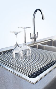 Drying your champagne glasses has never looked better thanks to Franke's stainless steel Roller Mat!