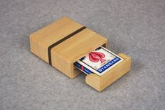 Playing/Poker Card Storage Box - Handmade Wooden Card Case - For 1 Deck of Cards - Drawer Slides - Retro Finger Holes for Easy Deck Removal
