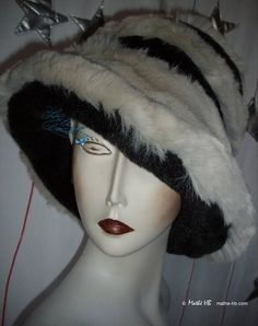 black and White Wolf winter toque Hat iridescent gray quirky