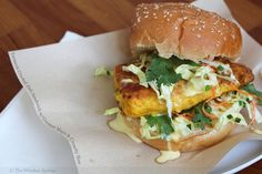 Turmeric Crusted Fish Sandwich with Coconut Mayo and Crunchy Slaw