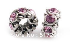 2013 New arrive fashion pink crystal inlay full circle chunky alloy beads big hole charms fit Pandora bracelet 20pcs free ship-in Beads from...