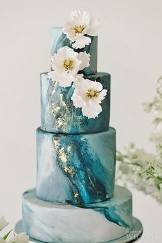 18 Trendy Marble Wedding Cakes ❤ See more: http://www.weddingforward.com/marble-wedding-cakes/ #wedding #cakes