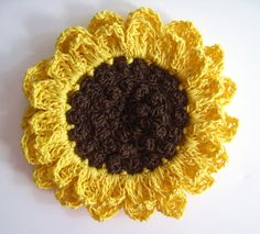 1 Sunflower Crochet Applique Embellishment - Large Applique Monogram, Embroidery Applique, Sunflowers And Daisies, Crochet Supplies, Cotton Thread, Crochet Flowers, Crochet Stitches, Knit Crochet, Monograms