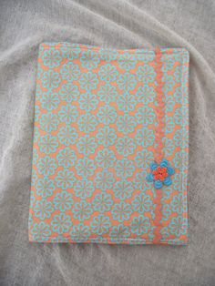 COMPOSITION NOTEBOOK FABRIC or Journal Cover Removable Washable Cotton Orange Green Blue Floral Office Organizer
