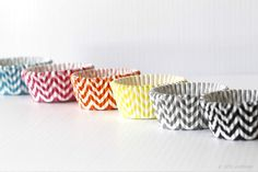Cute standard size chevron pattern cupcake liners $1.50    Blue & yellow for the wedding shower