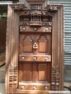 Wooden doors in Chennai, Carved furnitures, Chennai antique furniture House Main Door Design, Pooja Door Design, Single Door Design, Home Door Design, Main Entrance Door Design, Temple Design For Home, Wooden Main Door Design, Indian Home Design, Village House Design