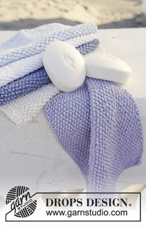 "Knitted DROPS cloths in seed st in ""Muskat"". ~ DROPS Design 152-31"