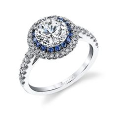 Unique Double Halo Mixed Color Diamond Engagement Ring