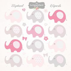 Check out Baby girl elephant cliparts by burlapandlace on Creative Market
