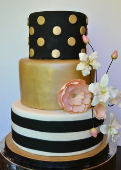 Gold and black, polka dots and stripes, orchids and sparkle. I made cake this for a very chic graduation party