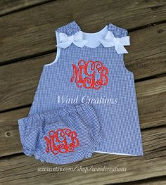 Infant monogrammed dress and bloomers, navy dress, baby monogrammed dress, monogrammed bloomers, girl's monogram navy gingham dress by waidcreations on Etsy https://www.etsy.com/listing/237455865/infant-monogrammed-dress-and-bloomers