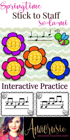Springtime elementary music stick to staff notation interactive practice!! This set includes both two line and three line interactive practice for translating staff notation into stick notation for so mi & la. Also included are pairing cards for class matching practice!!
