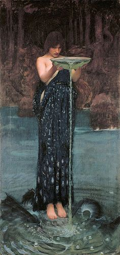 """Circe Invidiosa"".  (1892). (by John William Waterhouse)."