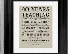 Retirement Gift Teacher Personalized CUSTOM Teachers Appreciation Inpirational P. Teacher Retirement Parties, Teacher Retirement Gifts, Retirement Celebration, Retirement Quotes, Happy Retirement, Retirement Cards, Teacher Gifts, Retirement Ideas, Principal Retirement