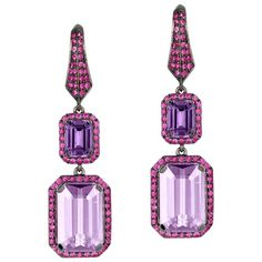 STYLE Emerald Cut Amethyst, Lavender and Pink Sapphire Earrings in Yellow Gold, from 'Rain Forest' Collection Sapphire And Diamond Earrings, Diamond Studs, Blue Sapphire, Pink Jewelry, Unique Jewelry, Hanging Earrings, 18k Gold, Amethyst, Gemstones