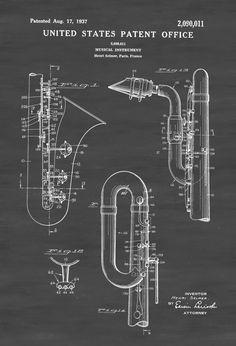 Saxophone Patent - Patent Print, Wall Decor, Music Poster, Music Art, Musical Instrument Patent by publiclens on Etsy Wall Prints, Poster Prints, Posters, Band Rooms, Instruments, Patent Drawing, Learn To Play Guitar, Patent Prints, Art Music