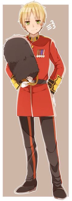 Hetalia (ヘタリア) - England/The United Kingdom (イギリス)/ Arthur Kirkland Guardsman England :D I've been looking everywhere for a picture of him dressed in this outfit! Gahhh! I can die happy now. :3