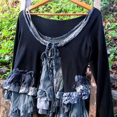 Black Cardigan by megbydesign on Etsy, $145.00 -  Wide Boat Neckline... Tie- dye Ruffle... Juxtaposition of Design Elements...