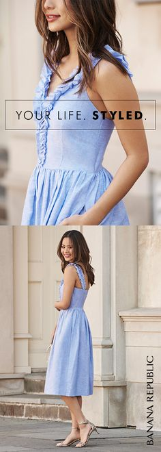 """I love ruffles!"" says super-stylish blogger Jamie Chung, and we agree: soft and feminine, this lightweight linen and cotton dress has a ruffled front and can be dressed up or down, so wear it wherever summer takes you."