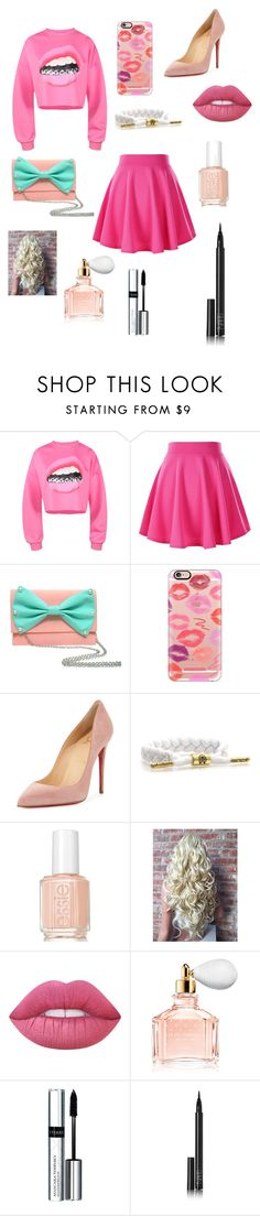 """Pink it up!"" by katou22 ❤ liked on Polyvore featuring Casetify, Christian Louboutin, Essie, Lime Crime, Guerlain, By Terry and NARS Cosmetics"
