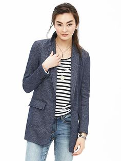 Textured Knit Boyfriend Blazer | Banana Republic