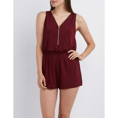 Charlotte Russe Zip-Up Sleeveless Romper ($19) ❤ liked on Polyvore featuring jumpsuits, rompers, burgundy, sleeveless rompers, charlotte russe, sleeveless romper, charlotte russe romper and red rompers