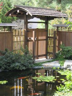 Japanese Garden Gate and Koi Pond.  Designed and installed by Takendo Arii, San Diego area.