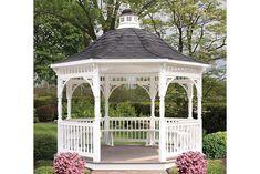 Octagon - Vinyl Gazebo w/ Bell Roof Backyard Pavilion, Backyard Gazebo, Garden Gazebo, Outdoor Rooms, Outdoor Living, Garden Structures, Outdoor Structures, White Gazebo, Diy Garden Fence