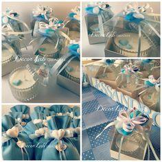 Scatole cristallo con candele profumate in Cera di soia OGM free (cuori celesti in Cera ) e Sacchetti cuciti a mano in Lino azzurro con cuore in gesso profumato
