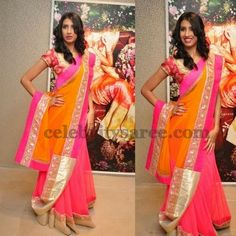 Orange Yellow Organza Saree