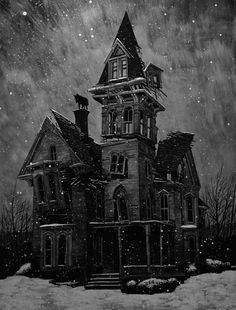 **Scary and dark illustrations by Daniel Danger Spooky House, Creepy Houses, Haunted Houses, Haunted Mansion, Ghost House, Witch House, Art Halloween, Halloween Pictures, Vintage Halloween