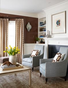 Beautiful lacquered walls, design by Muse Interiors. Image via DLP Interiors Blog.