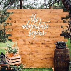 16 adventure begins sign wedding signage back drop