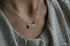White drusy bar necklace by ATELIER Gaby Marcos