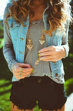 One of my favorites~ highwaisted shorts. Jean jacket. Striped long sleeve. Gold neclase