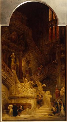 Entrance to the North Transept, Cathedral of Burgos, 1835 by David Roberts (Scottish Carl Spitzweg, Classical Art, Art Uk, Fantasy Landscape, Fine Art, Renaissance Art, Fantasy Artwork, Oeuvre D'art, Painting & Drawing