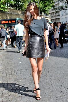 leather skirt and I'm really liking that shirt!