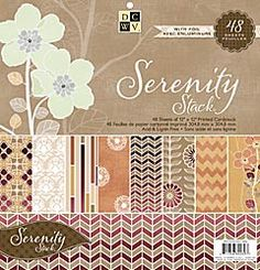 "12x12 "" - Serenity Paper Stack  Retro-themed geometric shapes together with serene floral designs set the stage for the Serenity Stack.    Designs are cast in shades of rust-colored brown, burnt orange, and small hints of honeydew green to create a collection fit for any paper-crafting project. Use the prints as is, or with the coordinating solid cardstock accents.    Stack contains 48 sheets (24 with foil)"