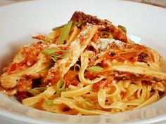 """CAJUN CHICKEN ALFREDO 2 RECIPE: ~ From: """"Food Network.Com"""". ~ Recipe Courtesy Of: """"GUY FIERI"""" (The Best Thing I Ever Made; The Sure Thing) ~ Prep.Time: 20 min; Cooking Time: 25 min; Total Time: 45 min; Level: Easy; Yield: (4 servings)."""