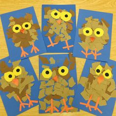 More Fun Kindergarten Owlets Ripping Paper Art Teacher V