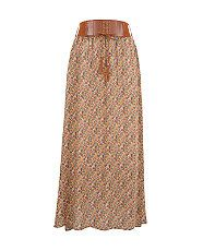 Green Pattern (Green) Brown Ditsy Floral Belted Maxi Skirt   278440239   New Look.  With shoestring vest and flat brown strappy sandals or cork wedges