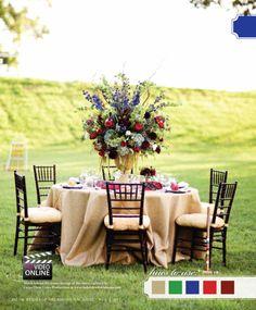 burlap table cloth, outdoor wedding