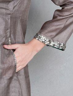 Taupe Sequin & Zari Stitch Detailed Tussar Silk Kurta - All About Simple Kurta Designs, Silk Kurti Designs, Stylish Dress Designs, Kurta Designs Women, Blouse Designs, Kurti Embroidery Design, Embroidery Suits, Embroidery Fashion, Embroidery Patterns
