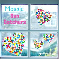 HEART SUNCATCHER MOSAICS for kids look gorgeous! Pretty and colourful window art for all ages.
