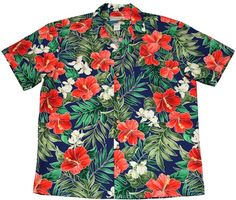 Waimea Casuals Men's Hawaiian Shirt [Ginger Hibiscus/Royal]